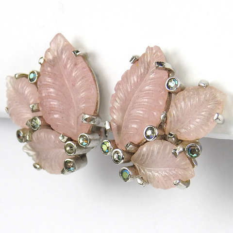 Jomaz Pink Fruit Salad Leaf Clusters and Aurora Borealis Spangles Clip Earrings