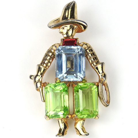 Jomaz Gold and Multicolour Gemset Stones Cowboy Pin Clip