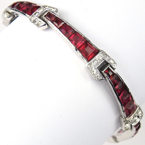 Jomaz Invisibly Set Ruby Chevrons Link Bracelet