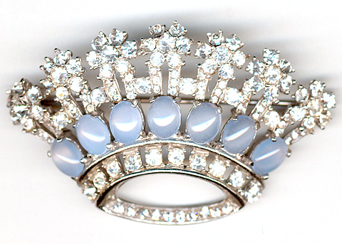 Joseph Mazer (unsigned) Pave and Blue Moonstones Crown Pin