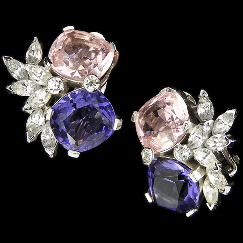 Jomaz Amethyst and Pale Pink Topaz Flower Cluster Clip Earrings