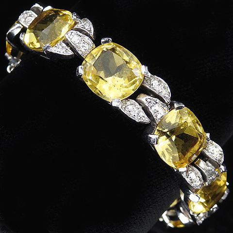 Jomaz Pave and Gallery Set Cushion Cut Citrines Link Bracelet