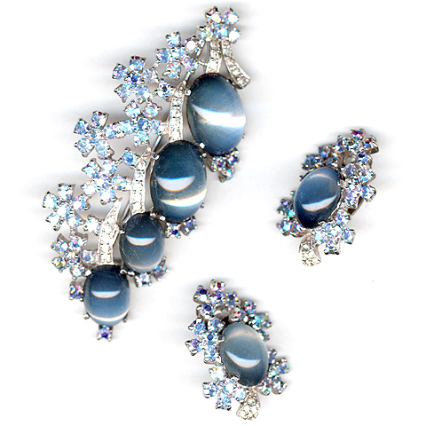 Jomaz Moonstone Cabochon and Aurora Borealis Flowers Floral Spray Pin and Clip Earrings Set