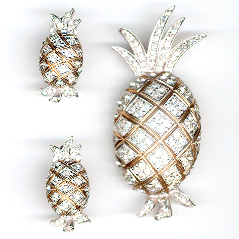 Jomaz (unsigned) Pave Pineapples Pin and Clip Earrings Set