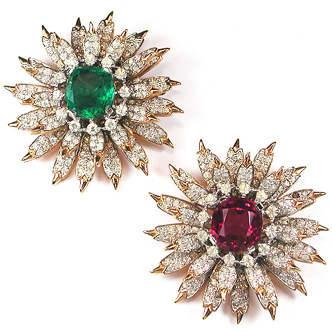 Jomaz Gold Pave and Ruby and Gold Pave and Emerald Pair of Starburst Pins