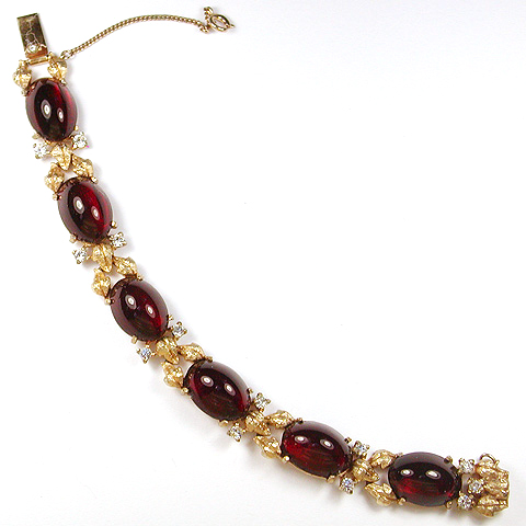 Joseph Mazer Ruby Cabochons and Golden Leaves Link Bracelet