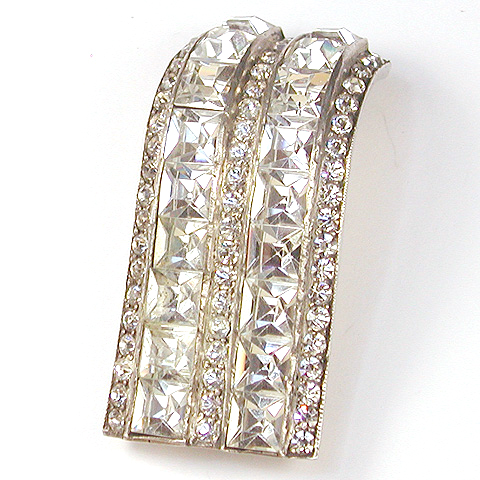 Mazer Deco Invisibly Set Diamonds and Pave Serpentine Curved Pin Clip