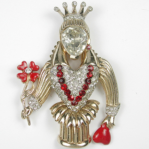 Mazer (? unsigned) Gold Pave and Enamel Queen of Hearts with Four Leaf Clover Pin Clip