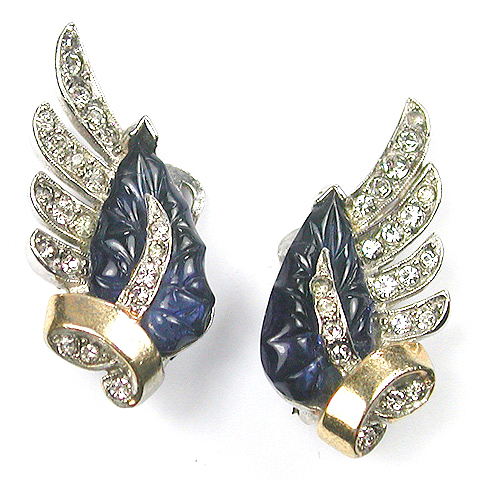 Mazer Gold Pave and Blue Fruit Salad Leaf Clip Earrings