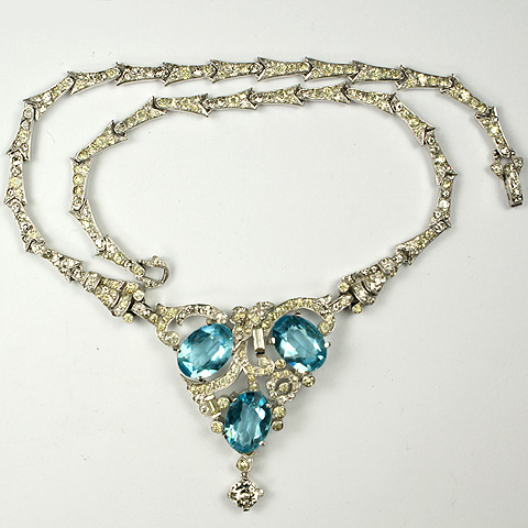 Mazer Pave and Aquamarines Floral Pattern Necklace with Diamond Pendant