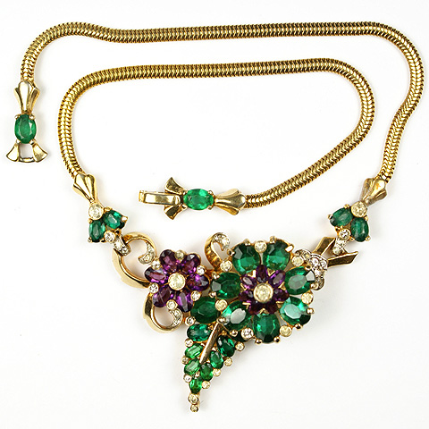 Mazer Emerald and Amethyst Floral Necklace