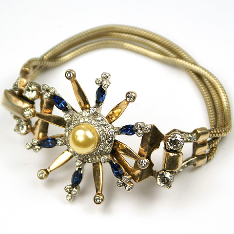 Mazer Sterling Sapphire and Pearl Star Triple Gold Strands Bracelet