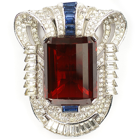 Mazer Pave Faceted Ruby and Invisibly Set Sapphires Deco Shield Dress Clip