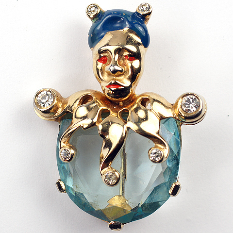 Mazer Gold Aquamarine and Enamel Jester Pin