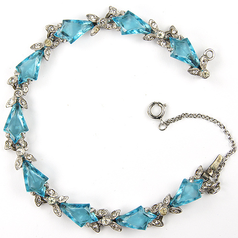 Mazer Pave and Kite Shaped Aquamarines Bracelet