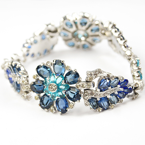 Mazer Aqua and Sapphire Flowers and Leaves Bracelet