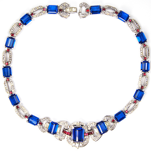 Mazer Deco Pave Faceted Sapphires and Invisibly Set Rubies Necklace