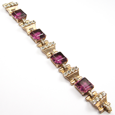 Mazer Sterling Gold Pave and Square Cut Amethysts Bracelet