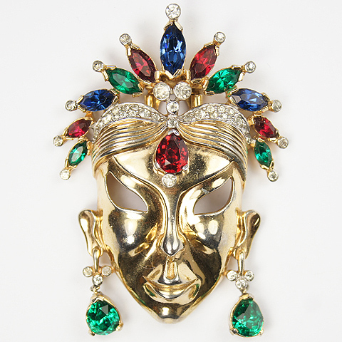 Mazer Gold and Tricolour Stones Face Mask Pin Clip