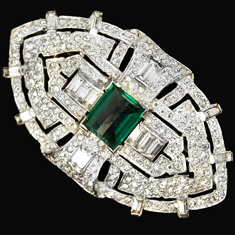 Mazer Multifaceted Emerald, Pave and Baguettes Deco Shield Pin