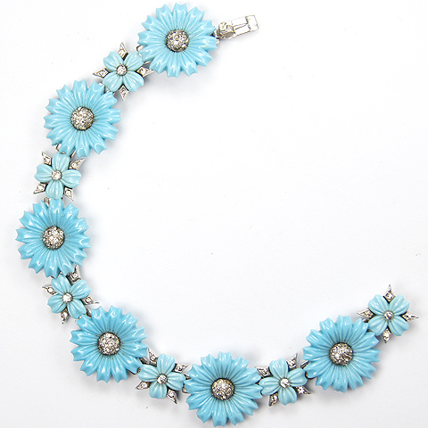 Mazer Pave and Turquoise Poured Glass Flowers and Four Leaf Clovers Bracelet