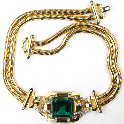 Mazer Deco Gold Pave and Square Cut Emerald Choker Necklace