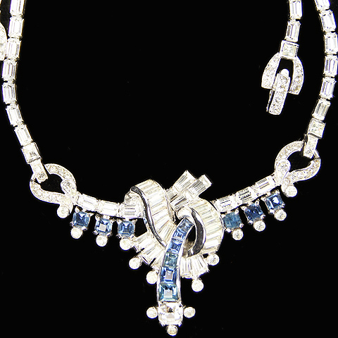 Mazer Sapphires and Baguette Swirls Deco Necklace