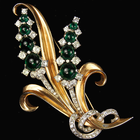 Mazer Gold Pave and Emerald Cabochons Floral Spray Pin