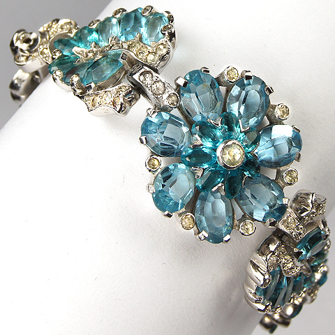 Mazer Pave and Aquamarine Flowers and Leaves Bracelet
