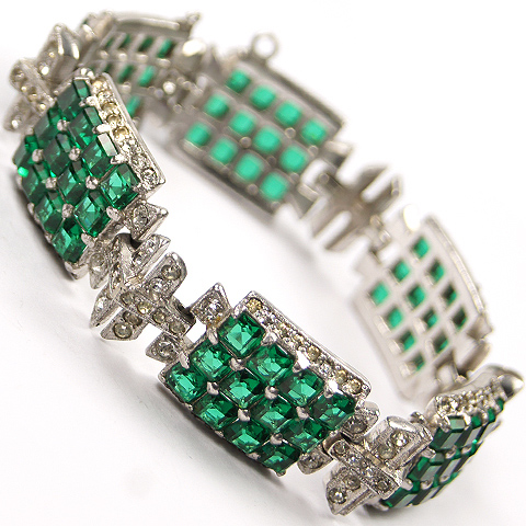 Mazer (unsigned) Pave and Invisibly Set Emerald Squares Deco Link Bracelet