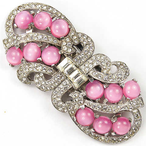Mazer Pave and Pink Topaz Cabochon Swirls Dress Clips Duette Pin