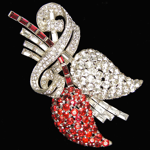 Mazer Pave and Rubies Giant Deco Scrolls Fruits on a Branch Pin
