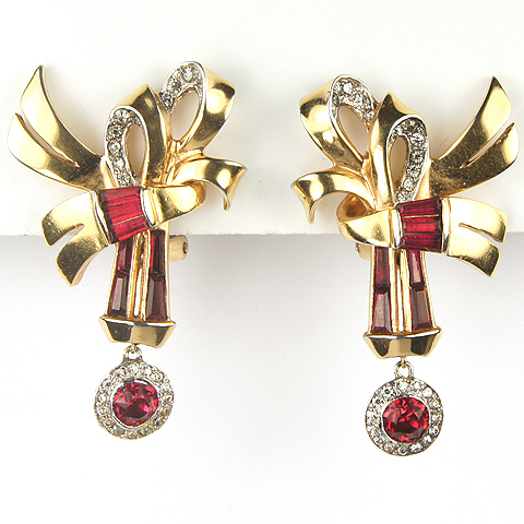 Mazer Gold and Invisibly Set Ruby Double Bow Pendant Clip Earrings