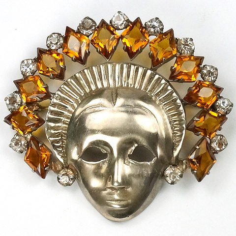 Mazer Sterling Lady with Citrine Studded Headdress Face Mask Pin