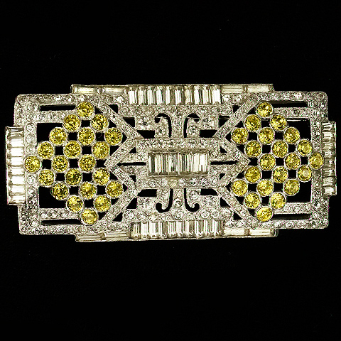 Mazer Pave and Baguettes Citrine and Diamante Checkerboard Pattern Deco Pin