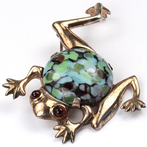 Mazer (unsigned) Sterling and Marbled Turquoise Belly 'Leap Frog' Pin