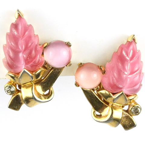 Mazer Pink Fruit Salad Leaf and Cabochon Clip Earrings