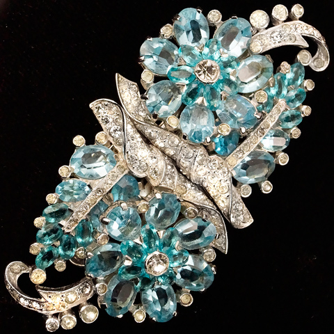 Mazer Pave and Aquamarine Flowers and Leaves Duette Pin or Pair of Dress Clips