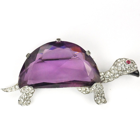 Mazer Pave Enamel and Giant Amethyst Demilune Turtle or Tortoise Pin