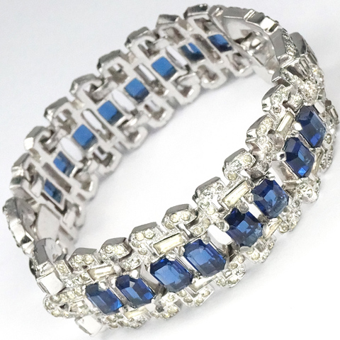 Mazer (unsigned) Pave and Oblong Cut Sapphires Deco Double Link Bracelet
