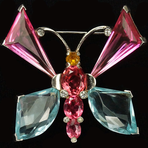 Mazer Sterling Gold Pink Topaz and Aquamarine Crystals Butterfly Pin