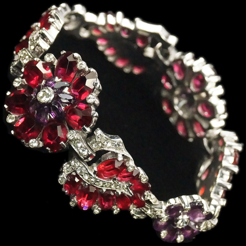 Mazer Ruby and Amethyst Leaves and Flowers Link Bracelet