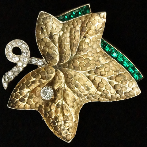 Mazer Sterling Invisibly Set Emeralds Raindrop on Golden Ivy Leaf Pin Clip