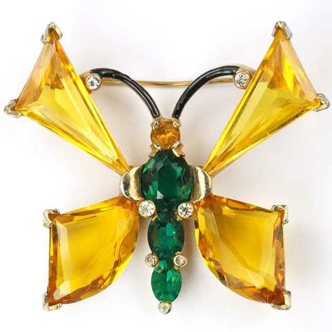 Mazer Gold Citrine and Emerald Crystals Butterfly Pin