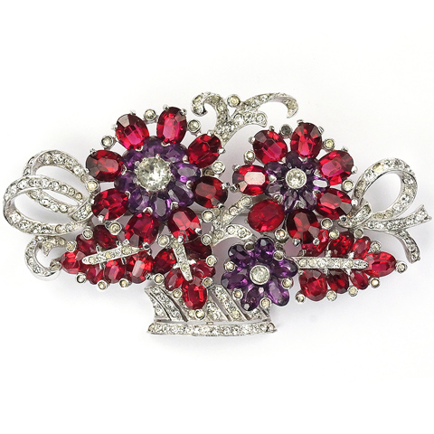 Mazer Pave Ruby and Amethyst Large Flower Basket Pin