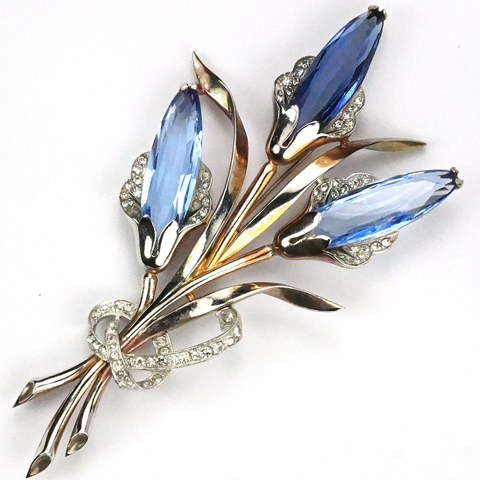 Mazer Sapphire and Double Blue Topaz Lozenge Shaped Flowers with Bow Pin