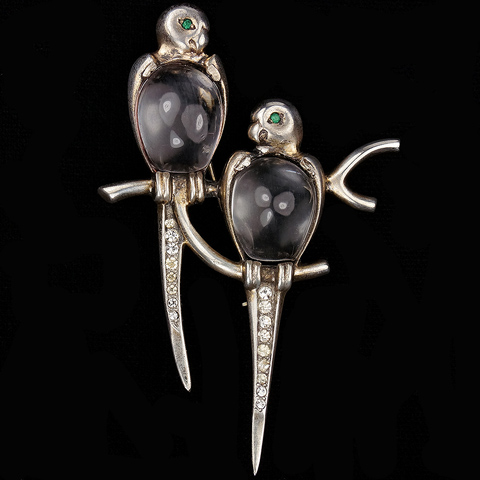 Mazer Sterling Pair of Jelly Belly Birds on a Branch Pin
