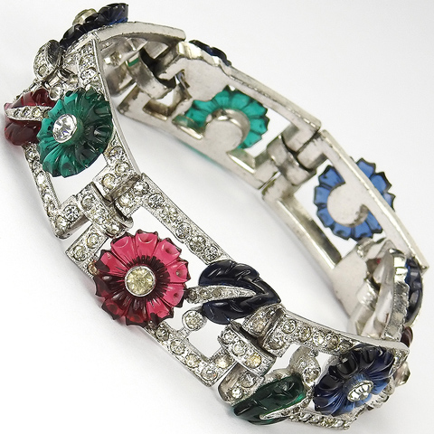 Mazer Pave Rectangles and Tricolour Fruit Salad Flowers and Leaves Bracelet