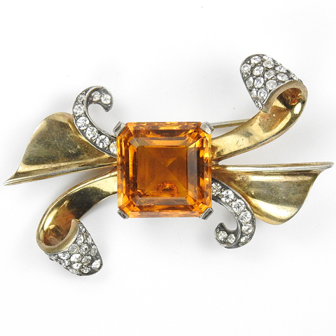 Mazer Sterling Gold Pave and Square Cut Topaz Deco Bow Pin