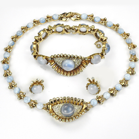 Mazer Gold Pave and Blue Moonstone Cabochon 'Jewels of Fantasy' Eye and Lashes Necklace Bracelet and Clip Earrings Set